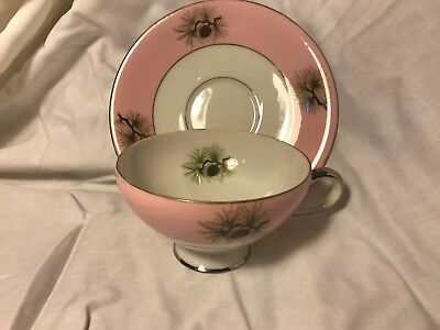 ANTIQUE NORCREST NW-C-348 Teacup & Saucer Pink Pine Cone Needles