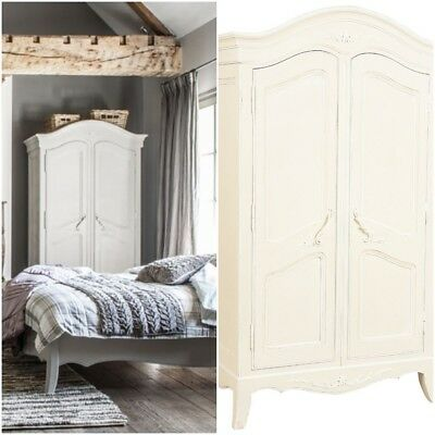French Style Double Antique White  Shabby Chic Wardrobe Armoire Provence