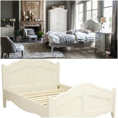 French Style Antique White Shabby Chic 5ft King Size Bed Provence