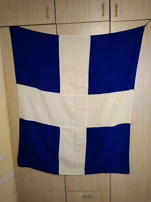 Old White Cross Greek Hellas Flag Made of Cotton Material 130 X 110 cm Rare