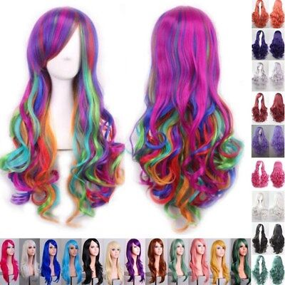 Rainbow Women Long Hair Full Wig Curly Wavy Hair Wigs Party Costume Cosplay Lot