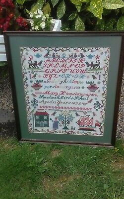 ANTIQUE NEEDLEWORK SAMPLER by MARY HOWSLENS AGED 13YRS. 1875