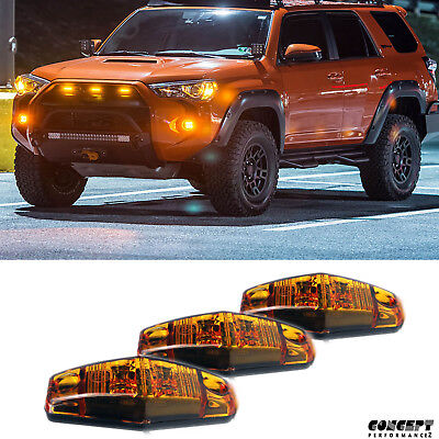 3pcs DIY Central Full Amber Grill Grille LED Light fits 14-up 5th 4Runner Tacoma