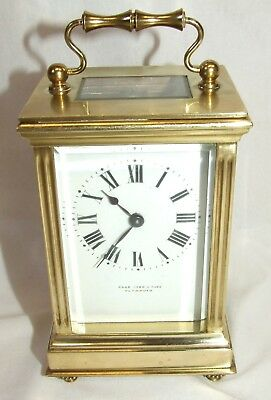 Antique Duverdry & Bloquel Brass OVAL Carriage Clock Timepiece PAGE KEEN & PAGE