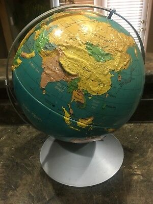 "Vintage Nystrom Dual Rotating Axis Readiness Globe 12"" Raised Relief 1985"