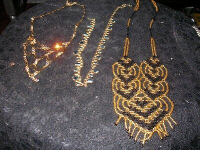 Job lot of 3 vintage necklaces +1 modern & 3 pairs vintage clip-on earrings