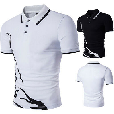 NEW Mens Short Sleeved Casual POLO Shirt Men Slim Fit Cotton T-Shirts Dress Tops