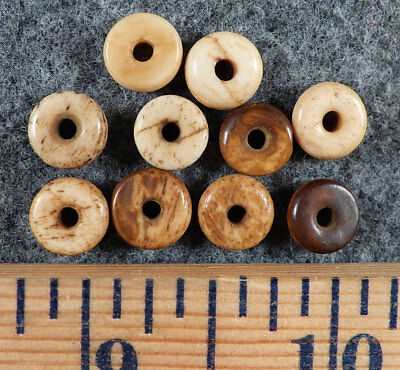 (10) Crow Indian Trade Beads Bone Donut Beads Fur Trade Era Pre-1800