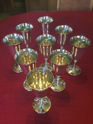 Set of 9 Vintage  De Uberti Silver Plated Wine Goblets Italy