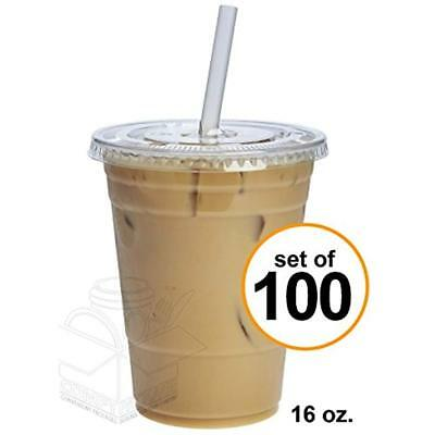 100 Sets 16 Oz. Plastic CRYSTAL CLEAR Cups Flat Lids By Cold Drinks, Iced Bubble