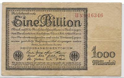 Germany 1923 One Trillion Marks-Last issue of the High Inflation Notes P134
