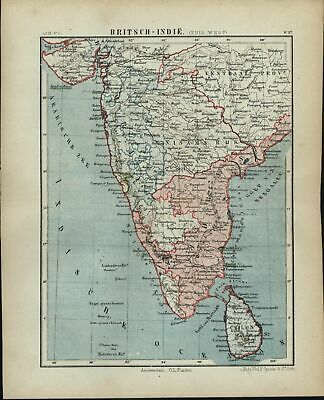 British India southwest 1882 charming small Dutch old map
