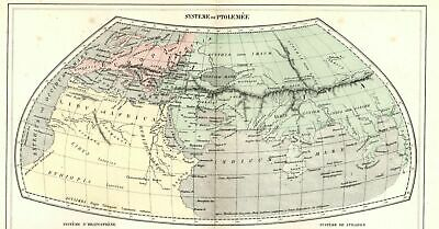 Ancient World systems Ptolemy Strabo Eratosthenes 1855 Dufour old hand color map