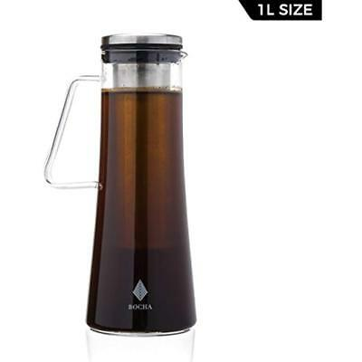 Cold Brew Iced Coffee Maker Teapot Infuser - 1L Glass Pitcher Carafe Removable