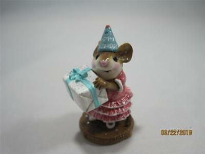 Wee Forest Folk M-224 Party Girl Pink Dress - Ceramic Base Retired - WFF Box