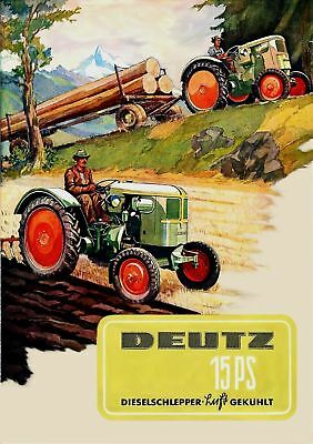 Farb-Plakat: Deutz Trecker 15PS Traktor Reprint NEU