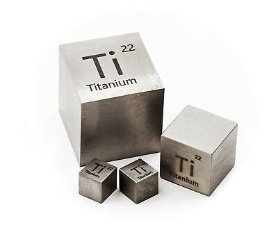 Titanium Metal 20mm Density Cube 99.95% Pure for Element Collection