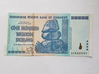 Zimbabwe 100 Trillion Dollars Banknote Money Currency Note Bill Circulated
