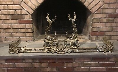 Vintage/Antique French Louis XV Rococo Style Ornate Fireplace Andirons & Fender