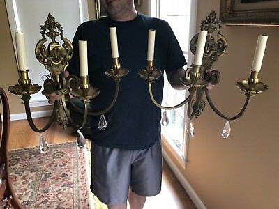 Antique Georgian Bronze French Pair Wall Sconces Crystal 3 Arm Rewired