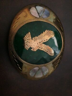 Johnson & Held Handcafted Eagle Belt Buckle Green Inlay Mother Of Pearl