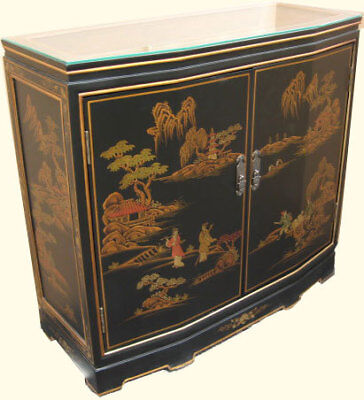 Oriental Hall Chest Two Doors With Shelf And Glass Top