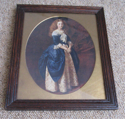 Antique Vintage Decorative Oak Picture Frame. Beautiful Print Of A Young Girl.