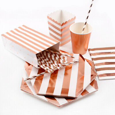 Rose Gold Paper Straws Cup Candy Bag Tableware Set Birthday Wedding Favor Supply
