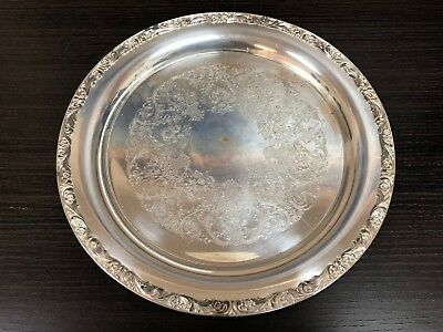 """Vintage Silver Plate Wm Rogers #571 Decorative Round Serving Tray 13.5"""""""