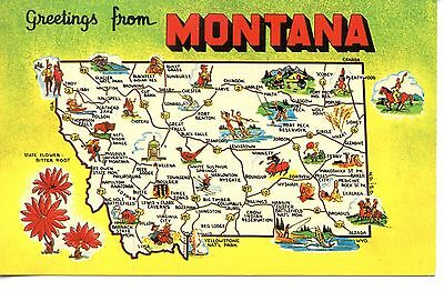 GREETINGS FROM MONTANA-TREASURE State Map-Cities-Tourist Sites ...