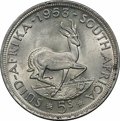 1953 South Africa Silver 5 Shillings, KM# 52, Low Mintage, BU