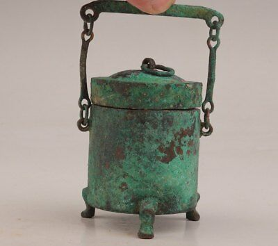 Bronze 卣 Chinese Old Wine Vessel Sacrificial Jar Shang Zhou Style Collection