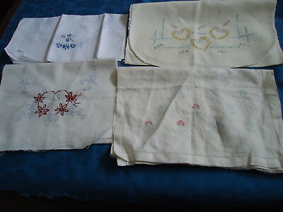 Stamped For Embroidery Table Runners/ Dresser Scarves Lot of 4 OOP Vintage