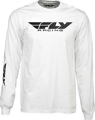 Fly Racing Casual Corporate Logo Men's White Long Sleeve Tee T-Shirt