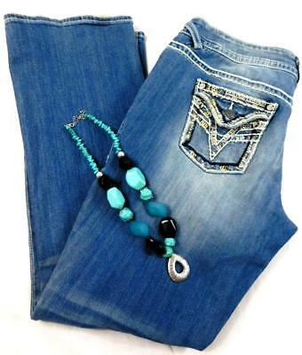 Vigoss blue the new york embroidered shimmer sequins slim boot jeans 15/16 L33