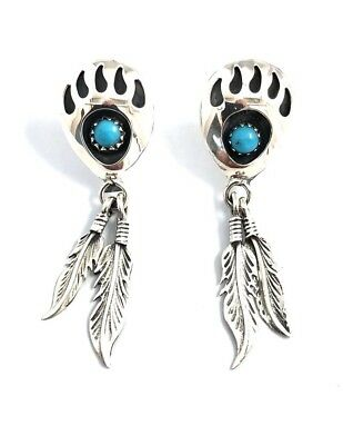 Native American Sterling Silver Navajo Turquoise Bear Paw Feather Dangle Earring