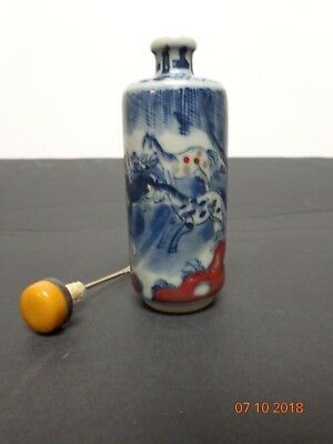 Antique Chinese Blue & White Imperial Horses Snuff Bottle with marking