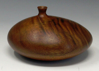 Exquisite Vtg. ROGER SLOAN Modernist Turned Wood Weed Pot Vase, Fabulous Grain