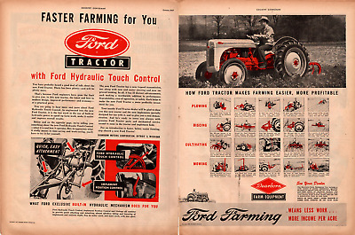 1947 Country Gentleman Magazine Advertisment Ford Tractor 2 Page AD A446