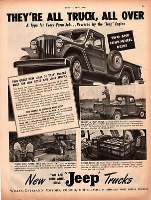 1947 Country Gentleman Magazine Ad Jeep Trucks1 Page AD A450