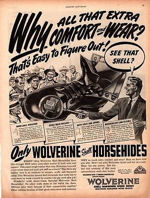 1947 Country Gentleman Magazine Ad Wolverine Work Shoes 1 Page AD A451
