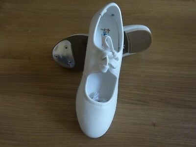 WHITE PU LOW HEEL TAP DANCE SHOES TOE TAPS ONLY GIRLS/ADULT All Sizes Available