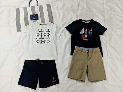 Janie and Jack Boys 4T  2 FULL OUTFITS LOT: Boats & Anchors shirts, Shorts