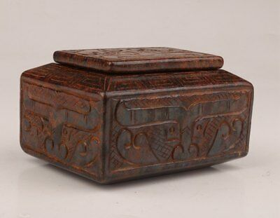 Old Jade Hand-Carved Chinese Rare Jar Ink Stone Box Calligraphy Tool Collection