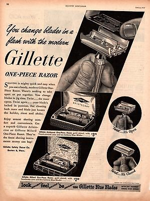1947 Country Gentleman Magazine Ad Gillette Razor 1 Page AD A453