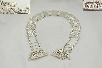 Rare Edwardian Hm Sterling Silver Pierced Panel Belt And Buckle 1901