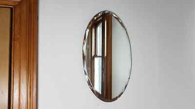 VINTAGE 1930s ART DECO BEVELLED EDGE ENGLISH MADE WALL MIRROR CAN HANG TWO WAYS