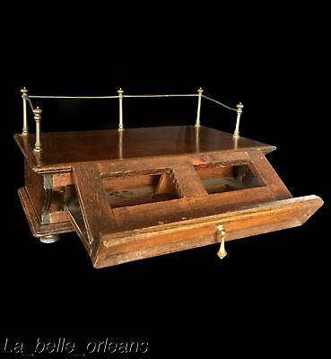 LATE 19THc TABLE BOOK / BIBLE STAND WITH BRASS GALLERY. RARE !!