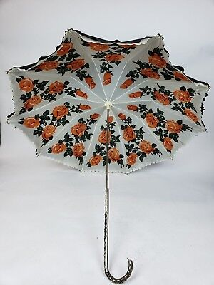Vintage Double Parasol Umbrella Black with Coral Roses Silver Jeweled Handle