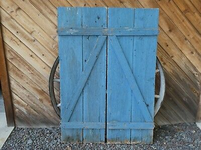 19th C ANTIQUE PRIMITIVE EARLY BARN DOOR WOOD WINDOW SHUTTERS IN OLD BLUE PAINT